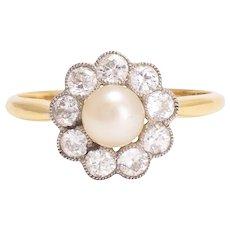 Antique Edwardian Pearl & Diamond Flower Ring