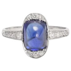 Antique Edwardian Sapphire Sugarloaf Cocktail Ring