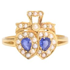 Antique Victorian Sapphire & Pearl Double Heart Ring