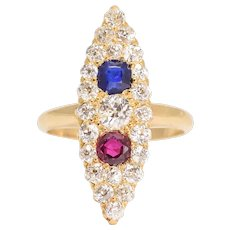 Antique Victorian Sapphire, Ruby & Diamond Marquise Cluster Ring