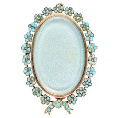 Victorian Turquoise & Diamond Forget-Me-Not Locket
