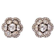 Georgian Rose Cut Diamond Stud Earrings