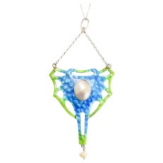 Arts & Crafts Pearl and Enamel Pendant
