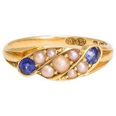 Edwardian Pearl & Sapphire Twist Ring
