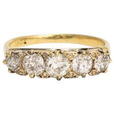 Mid-Victorian 1.75ct Diamond 5-Stone Ring