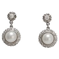 Art Deco Diamond & Cultured Pearl Cluster Stud Earrings