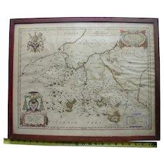 Rare antique map France c 1640 Johannes Joan Blaeu Amsterdam Archevesche Cambray