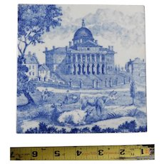 Rare antique ceramic tile Minton Boston State House trivet 1895 Macullar Parker