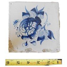 Rare 17th century Delft ceramic tile Dutch porcelain dark blue flower floral