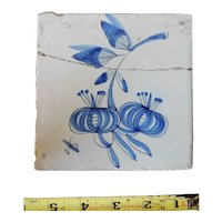 Rare 17th century Delft ceramic tile Dutch porcelain dark blue flower blossom