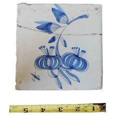 Rare 17th century Delft ceramic tile Dutch porcelain dark blue flower blossom