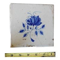 Rare 17th century Delft ceramic tile Dutch porcelain dark blue foliate flower