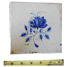 Rare 17th century Delft ceramic tile Dutch porcelain dark blue foliate flower