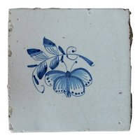 Rare 17th century Delft ceramic tile Dutch porcelain blue moth hand painted