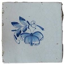 Rare 17th century Delft ceramic tile Dutch porcelain blue moth hand painted