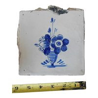 Rare 17th century Delft ceramic tile Dutch porcelain blue flower hand painted