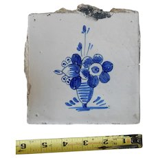 Rare 17th century Delft ceramic tile Dutch porcelain blue flower hand painted