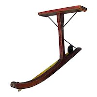 Antique primitive child's sled ski single runner paint decorated seat wood jack
