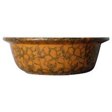 Antique spongeware stoneware fruit serving bowl dish vegetable 19th c Bennington