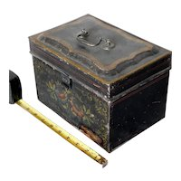 Antique tole painted tin document box deed folk art floral gilded ca. 1850 brass