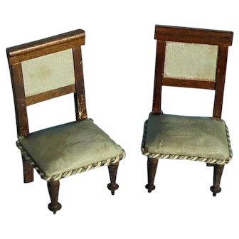 2 Vintage dolls house dining chairs.