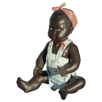 Vintage French black celluloid baby doll.