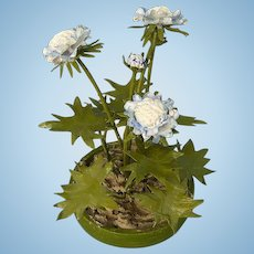 Hand made miniature/dollshouse scabious plant in painted copper.