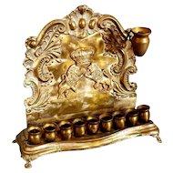 Antique Hanukkah Menorah 19thC Polish Warsaw Copper Handmade Baal Shem Tov Judaica.