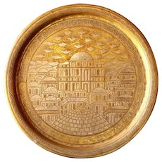 Antique Copper Judaica Tray Islamic Mameluke Silver Inlay Middle East Large 3.1kg Jerusalem Plate