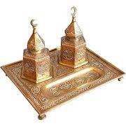 Antique Islamic Inkwell Mamluk Double ink jar and tray Arab Silver inlaid copper Damascene work