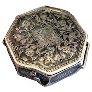 Islamic Koran Amulet Box Antique 19thC Silver 800and  niello inlay Miniature Quran case