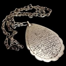 Antique Islamic Good luck Amulet Dome of the Rock Niello on Silver 700 Pendant necklace Allah's Tear - Red Tag Sale Item
