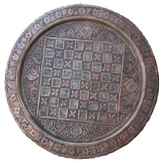Large Antique Islamic Chess Board tray pewter 19 inch copper and Tin plate