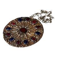 Antique Turkmen Yomut Button Silver 700-800 Pendant Islamic Turkmenistan Amulet Necklace
