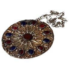 Antique Turkmen Yomut Button Silver Pendant Islamic Turkmenistan Amulet Necklace