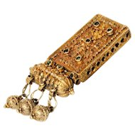 Antique Islamic Gilded Silver filigree Amulet box Central Yemenite Necklace