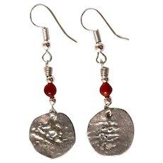 Antique Islamic Coin on Earrings in Sterling Silver & Carnelian bead.