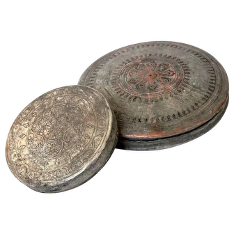 Very Old beginning 20th Century Islamic ornamented Copper Disc shape Boxes tin plated box pair