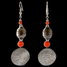 Antique Islamic Coin and Silver Bead Earrings with Carnelian Beads.
