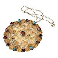 Antique Yomut Pendant Turkmenistan med Silver Amulet Necklace