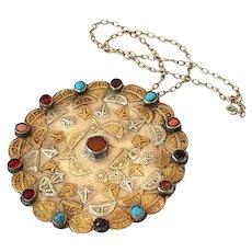 Antique Yomut Pendant Turkmenistan Silver Amulet Necklace