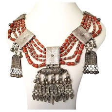 Antique Yemenite Necklace coral beads
