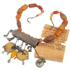 Antique Yemenite Amulet box Necklace Kabbala Scroll