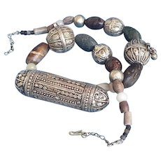 Antique Ethnic Yemenite amulet box Necklace Tribal med silver.