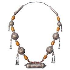 Antique Huge Yemenite Necklace amulet box pendant.