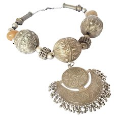 Antique Yemenite Necklace large balls and crescent moon Amulet