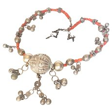 Antique Yemenite Granulated & Coral Bead necklace