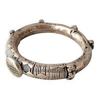 Antique Palestine Bracelet Silver 800 Rare Islamic artisan handmade 19thC. Bangle