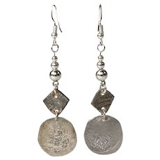 Antique Abbasid Dirham Islamic Silver Coin on Sterling Silver Earrings