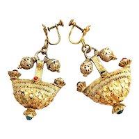 Antique Yemenite Filigree Bridal Head ornament Gilded Silver Earrings